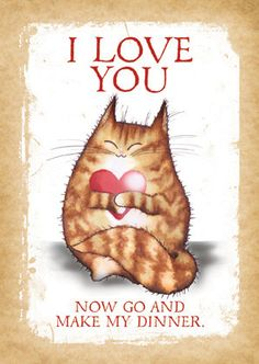 I love You. Now Go Make My Dinner. Cute cat por MADOLDCATLADY