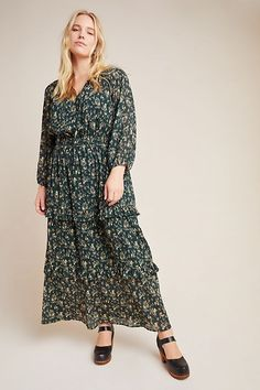 Green Plus Size Long Sleeve Floral Print Tiered Maxi For Women.  Eye-catching florals and a tiered silhouette make this plus size maxi dress with long sleeves an elegant essential   #PlusSizeDresses #getthelook #PlusSize #PlusSizeFashion #PlusSizeStyle #CurvyGirl #plussizedivas #boldcurvyfashionista #curvy #curvyfashionista #Fashion #Style