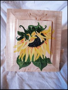Jewelry / Trinket / keepsake wood box with a painted Sunflower on the lid, great gift. by TrailRider on Etsy