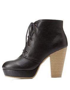 Lace-Up Platform Chunky Heel Booties by Charlotte Russe - Black