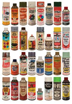 Amazing collection of vintage spray paint cans - so cool! Spray Paint Cans, Spray Painting, Color Spray, Vintage Packaging, Vintage Labels, Call Art, Miniture Things, Dollhouse Miniatures, Dollhouse Ideas
