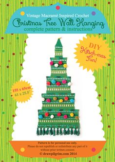 From draw! pilgrim: a vintage macramé-inspired christmas tree wall hanging crochet pattern