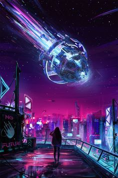 Beautiful Science Fiction, Fantasy and Horror art from all over the world. Cyberpunk City, Arte Cyberpunk, Cyberpunk Aesthetic, Futuristic City, Fantasy Art Landscapes, Fantasy Landscape, Fantasy Artwork, Retro Wallpaper, Scenery Wallpaper