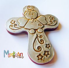 Baptism Favors, Little Angel  Hand embossed metal cross, Party favor, First Holly Communion, Baby shower, Baby boy, Baby girl. $9.90, via Etsy.