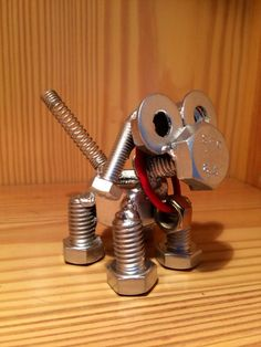 Puppy Dog Nut and Bolt Sculpture by BChillDesigns on Etsy, $35.00: