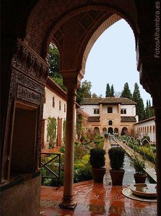 Patio de la Acequia en el Generalife de la Alhambra PRETTY GARDEN MAURESQUE IN GRENADA -SPAIN