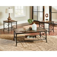 Loon Peak® Hodgdon 3 Piece Coffee Table Set