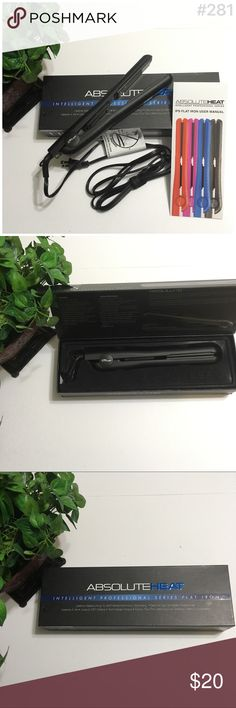 Flat iron Absolute flat iron ▪️450 deg fahrenheit▪️ionic technology▪️Safe for use on Ketatin Treated Hair▪️EUC- Excellent Used Condition▪️with Heat adjustment Absolute Accessories