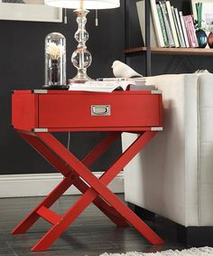Red Concord Campaign Accent Table #zulily #zulilyfinds