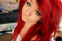 I wish I could look this cute in bright red hair.