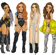 •°•✧ Pinterest - @ Tanyacrumlishx•°•✧ Little Mix Girls, Little Mix Outfits, Black Girl Art, Black Women Art, Litte Mix, Bff Drawings, Girl Cartoon, Cartoon Art, Mixed Girls