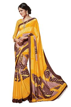 Yellow Crepe Printed Saree