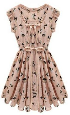 Pink Sleeveless Belt Deer Print Chiffon Dress pictures