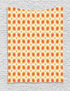 Orange Tapestry Bohemian Decor Ambesonne, Vintage Style Bold Geometric Shapes 70s Style Minimalist Pattern Boho Home Decor, Bedroom Living Room Dorm Wall Hanging, 60W x 80L Inches, Orange Cream