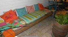 cinder block bench, outdoor furniture, outdoor living, patio, repurposing upcycling, Plenty of room under the bench for storage