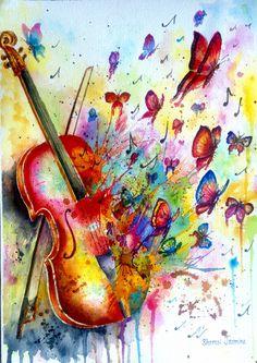 Birth Watercolor by Shamsi Jasmine Music Drawings, Art Drawings, Violin Art, Music Painting, Butterfly Art, Whimsical Art, Amazing Art, Fantasy Art, Watercolor Paintings