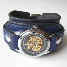 Kožené mordré hodinky