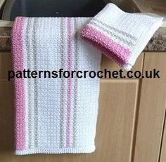 Tea Towel and Dishcloth FREE crochet pattern from http://www.patternsforcrochet.co.uk/dishcloth-tea-towel-usa.html #crochet #crochetteatowel #crochetdishcloth