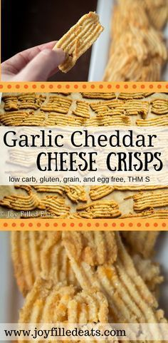 These low carb Cheddar Garlic Cheese Crisps make a delicious snack! [gluten free, grain free, egg free, THM S]