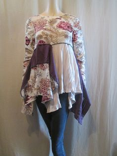 Boho Gypsy Art to Wear Tunic Rose Garden by bluemermaiddesigns