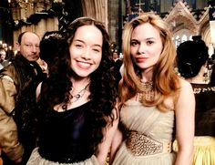 Anna Popplewell (Lola) and Celina Sinden (Greer) on the set of #Reign!