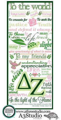 Delta Zeta Creed Illustration Licensed. Go buy a copy from A3 Studios now!  :-)