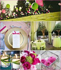 Pink and green #summer outdoor #wedding style.
