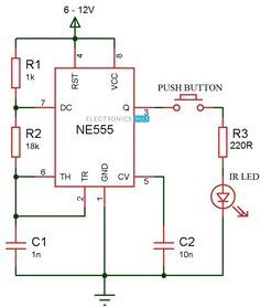 This article shows the IR transmitter and IR receiver circuits,working.Here the transmitter circuit is designed using is used as receiver Hobby Electronics, Electronics Basics, Electronics Projects, Electronic Circuit Projects, Electronic Engineering, Electrical Engineering, Chemical Engineering, Nand Gate, Iot Projects