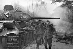 """historicaltimes: """" German soldiers surrendering to the Red Army during the Battle of Berlin, """" T 34 85, Berlin 1945, Germany Berlin, Ww2 Tanks, World Of Tanks, Korean War, Red Army, Panzer, Military History"""
