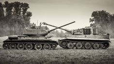 Late model Russian T34 with 85 mm gun compared to German Tiger 1 fitted with the famed 88 mm.  The latter was formidably armoured (although its armour was not sloped like the T34 - a feature the Germans adopted with the Panther) and manufactured to a high level of quality, but it was slower and more complex.  And quantity has a quality all of its own...