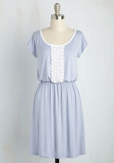 Dashboard Confectioner Dress - Blue, Tan / Cream, Solid, Crochet, Casual, A-line, Short Sleeves, Spring, Knit, Good, Mid-length