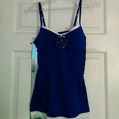 Navy/Royal Blue Tank Top Spaghetti strap blue tank top with built in under wire bra, lace bottom Glo Tops Tank Tops