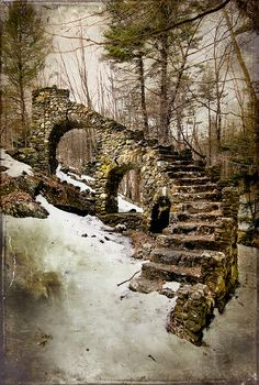 Castle ruins in what is now the Madame Sherri Forest near West Chesterfield, New Hampshire.