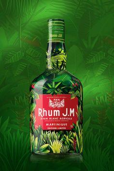 Rhum JM - Jungle Macouba on Packaging of the World - Creative Package Design… Label Design, Packaging Design, Branding Design, Design Agency, Alcohol Bottles, Liquor Bottles, Beverage Packaging, Bottle Packaging, Mode Logos