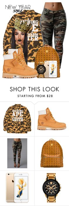 """""""The new year style"""" by chiamaka-ikaraoha ❤ liked on Polyvore featuring A BATHING APE, Timberland, MCM, Versace, women's clothing, women, female, woman, misses and juniors"""