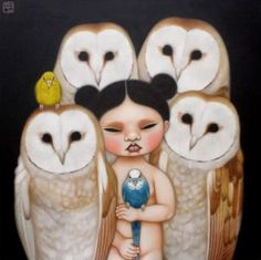 Poh Ling Yeow owls and parakeets Masterchef Australia, Australian Animals, Australian Artists, Painting For Kids, Painting & Drawing, Owl Art, Drawing Tutorials, Sculpture, Asian Art
