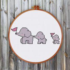 3 elefantes cruz puntada patrón, patrón lindo punto de Cruz, patrón de punto de Cruz animales, infantiles punto de cruz patrón, patrón para principiante