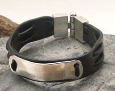 FREE SHIPPING. Men's leather bracelet. Black door eliziatelye