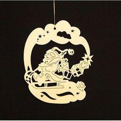 .Fensterbild klein, Weihnachtsmann auf Schlitten unbeleuchtet