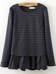 Shop Navy Long Sleeve Plaid Ruffle Blouse online. Sheinside offers Navy Long Sleeve Plaid Ruffle Blouse & more to fit your fashionable needs.