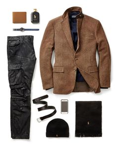 Polo Ralph Lauren's Modern Fall look. Moto jeans and tweed.