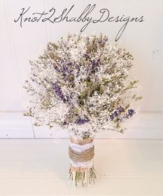 Babys breath bouquet  lavender bouquet  by Knot2ShabbyDesigns