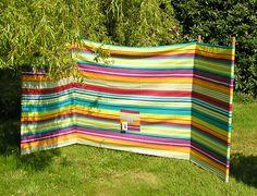 beach windbreak rainbow stripe