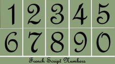 Primitive Stencil~Numbers~French Script~House-Address