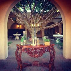 A more natural looking ceremony table option set for a sand ceremony. #sandceremony #unityceremony #arizonawedding