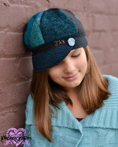 Jax Hats Teal and Black sweater hat in smaller adult size with polymer clay button on Etsy, $35.00