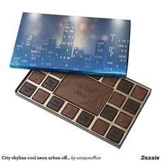 City skyline cool neon urban office 45 piece assorted chocolate box