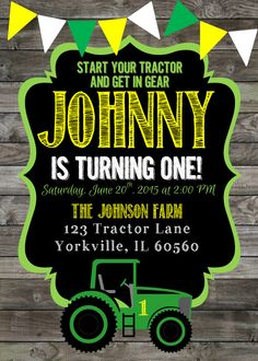 John Deere tractor birthday party invitation Peachy Graphics