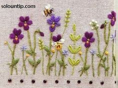 ༺༺༺♥Elles♥Heart♥Loves♥༺༺༺ .......♥Embroidery Elegance♥....... #Embroidery #Stitching #Inspiration #Needlework #Handmade #Artist #Vintage ~ ♥Graphics Embroidered Flowers by Solountip.com