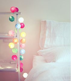 Cable and cotton fairy lights Home Bedroom, Girls Bedroom, Bedroom Decor, Bedrooms, My New Room, My Room, Room Inspiration, Interior Inspiration, Cotton Ball Lights
